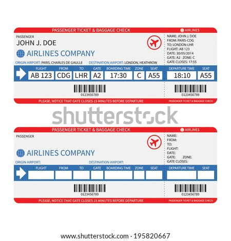 Vector airline passenger and baggage ( boarding pass ) tickets with barcode. - stock vector