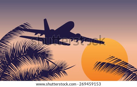 Vector Airplane flying above tropical sea at sunset - stock vector