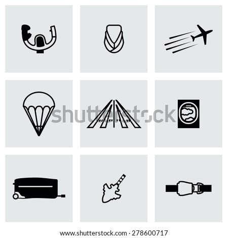 Vector Airplane icon set on grey background - stock vector