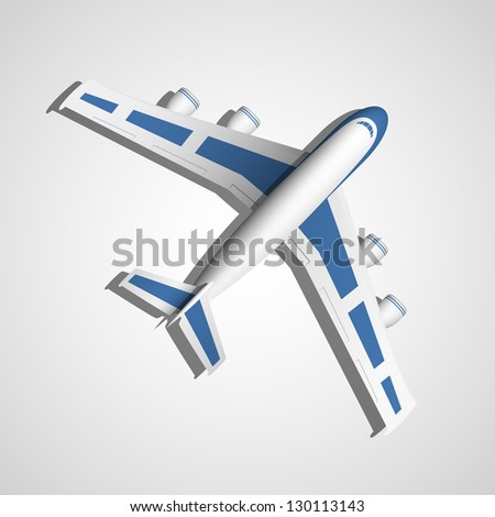 Vector Airplane top view - stock vector