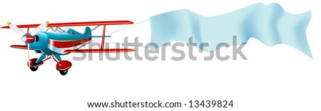 Vector Airplane with banner canvas for message - stock vector