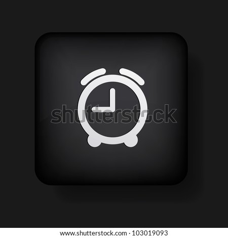 vector alarm clock icon on black. Eps10 - stock vector