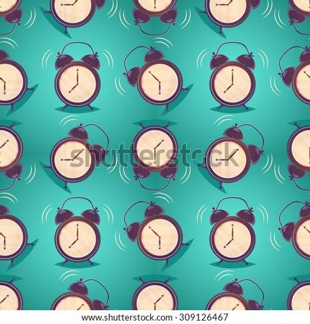 Vector alarm clock seamless pattern - stock vector