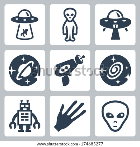 Vector aliens and ufo icons set - stock vector