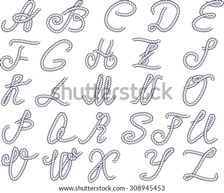 Vector alphabet. Alphabet letters made from marine rope. Vector hand drawn calligraphic alphabet. - stock vector