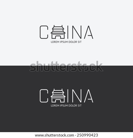Vector alphabet china design concept with flat sign icon/ can be used for travel publishing or web design layout. - stock vector