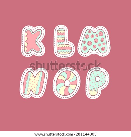 Vector alphabet drawn by hand, in the children's cartoon style letters painted in bright colors and various patterns and backgrounds: lines, swirls, circles, dots, flowers. - stock vector