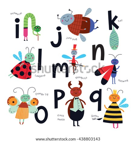 Vector alphabet for children. Cute insects in cartoon style. I, J, K, L, M, N, O, P, Q. Part 2. - stock vector