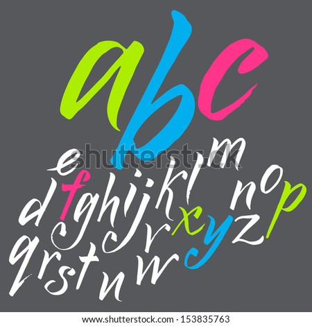 Vector alphabet. Hand drawn letters. Letters of the alphabet written with a brush. Font consists of two files. Look in the portfolio. - stock vector