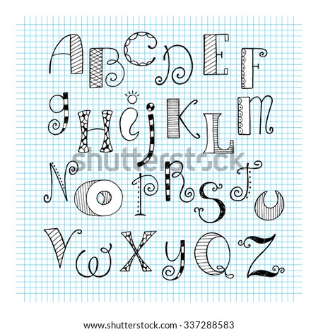 Vector alphabet. Hand drawn letters. Letters of the alphabet written with a ink in a doodle style. - stock vector