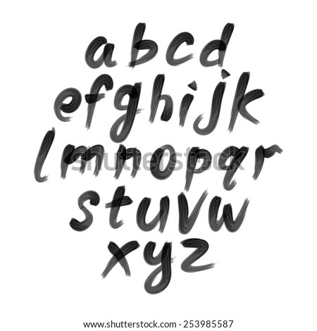 Vector alphabet. Hand drawn letters. written with a brush. - stock vector