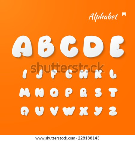 Vector alphabet hand lettering. paper 3d style - bright orange background with shadows. - stock vector