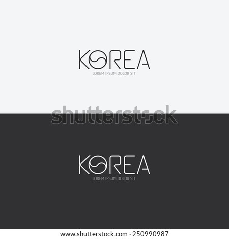 Vector alphabet korea design concept with flat sign icon/ can be used for travel publishing or web design layout. - stock vector