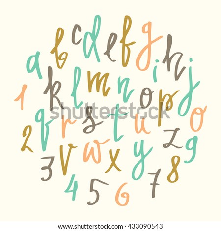 Vector alphabet.  Modern calligraphy font. Vector hand drawn  letters isolated and easy to edit. Retro colors. For postcard or poster decorative graphic design. - stock vector