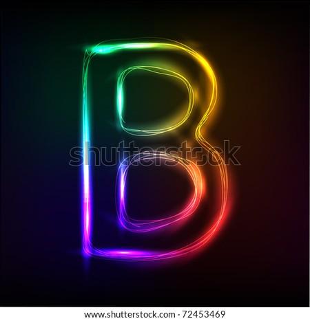 Vector alphabet.  Neon  letter  B - stock vector