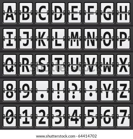 vector alphabet of black and  white mechanical panel - stock vector