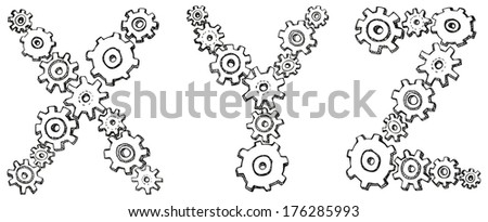 Vector alphabet of cheerful caricature hand-drawn characters consisting of spinning gears. Letters X, Y, Z isolated on white background - stock vector