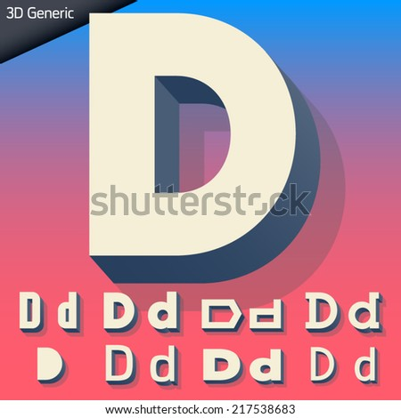 Vector alphabet of simple and generic 3d letters. Letter d - stock vector