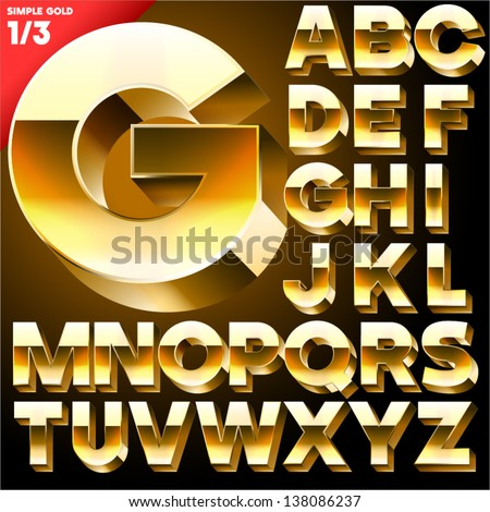 Vector alphabet of simple 3d letters. Sans bold. Upper cases Black - stock vector