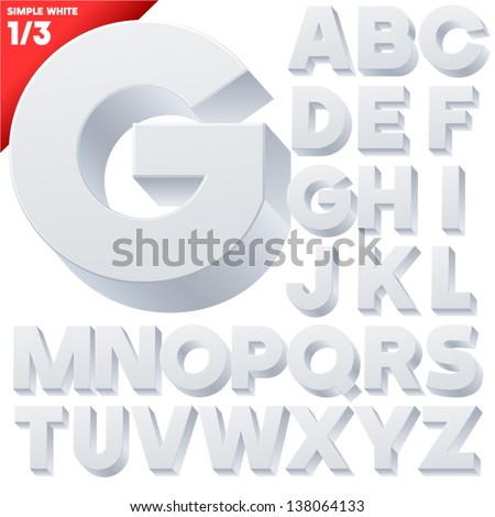 Vector alphabet of simple 3d letters. Sans bold. Upper cases White - stock vector