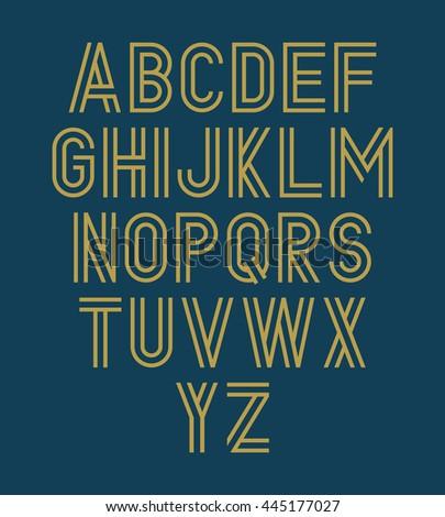 Vector alphabet set. Double font - stock vector
