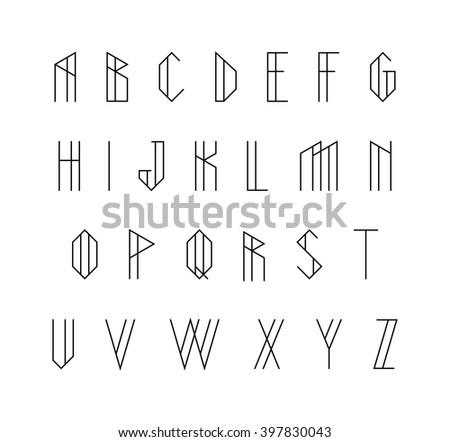Vector alphabet set. Geometric font - stock vector
