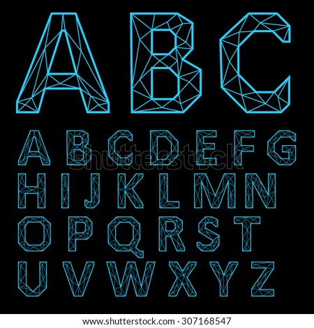 Vector Alphabet Set. Neon letters on a black background. - stock vector