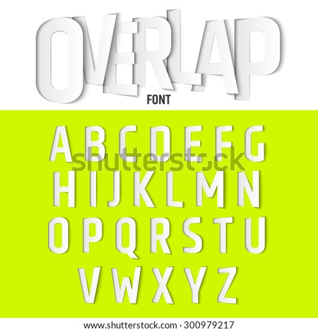 Vector Alphabet with Ovelapping Letters, Modern Paper Cut Font Style - stock vector