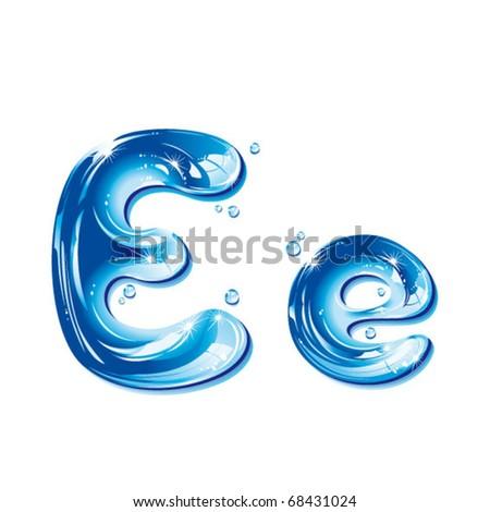 vector alphabetical water letter E - stock vector