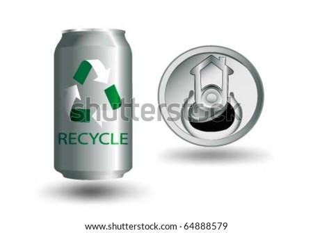 Vector aluminium can with recycling symbol - stock vector