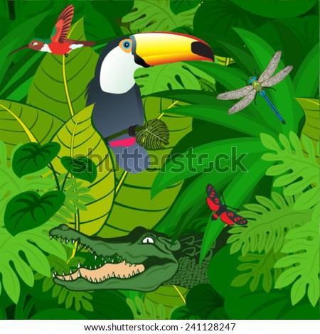 vector amazon jungle seamless pattern with crocodile - stock vector