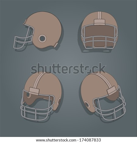 Vector American football helmets retro color style,  - stock vector