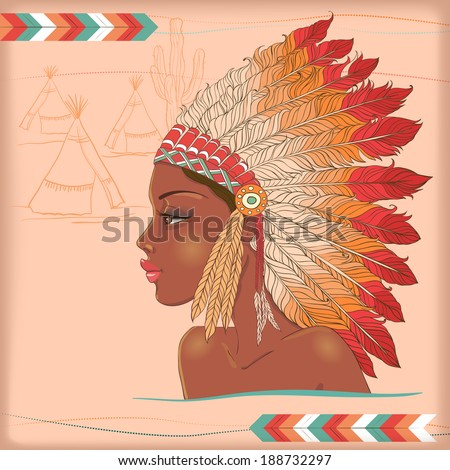 Vector american indian beautiful girl. Vector native american indian chief - stock vector