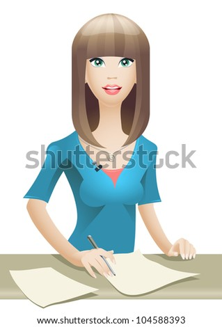 Vector anchorwoman presenting news on TV - stock vector