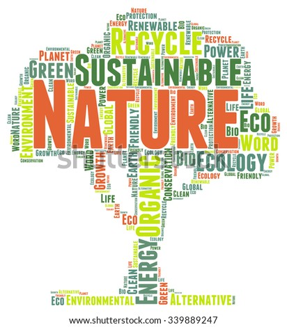 Vector and Illustration of a tree filled with concepts and words related to ecology and protection of nature - stock vector
