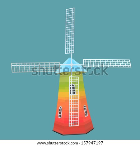 Vector and illustration of a windmill - stock vector