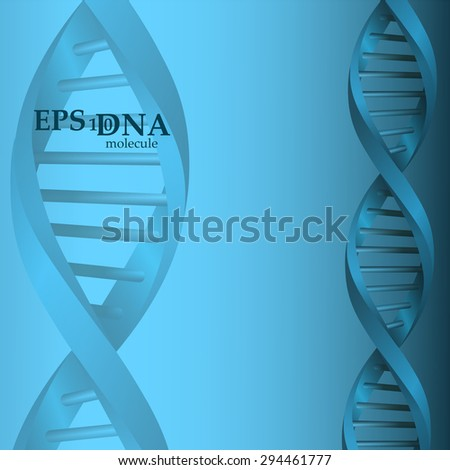 Vector and mesh DNA blue molecule structure background illustration. Science and biotechnology organic design element  - stock vector