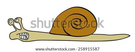 Vector angry snail - slowly animal  - stock vector