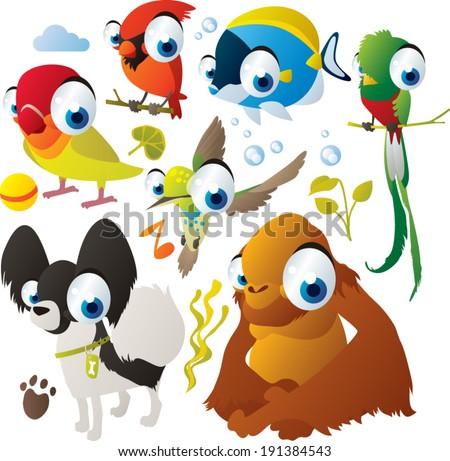Vector animal set: lovebird, orangutan, quetzal, cardinal, hummingbird, dog, fish - stock vector