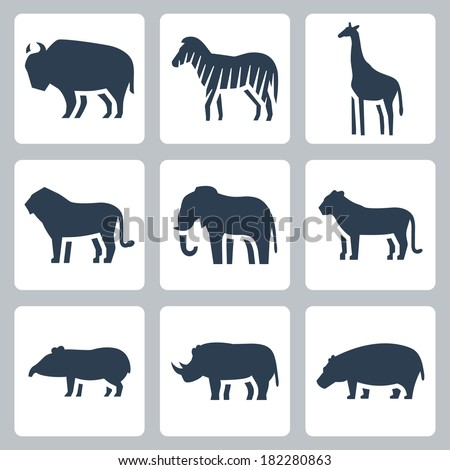 Vector animals of tropical zone icons set - stock vector