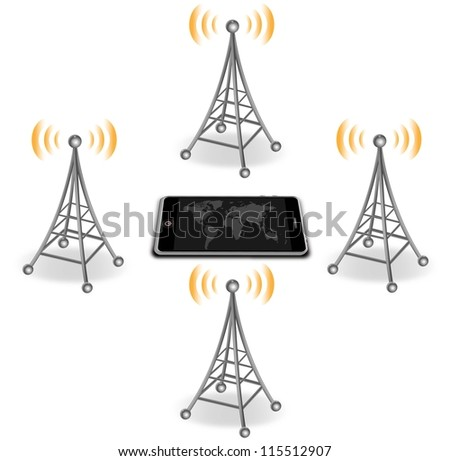 vector antennas around smart phone - stock vector