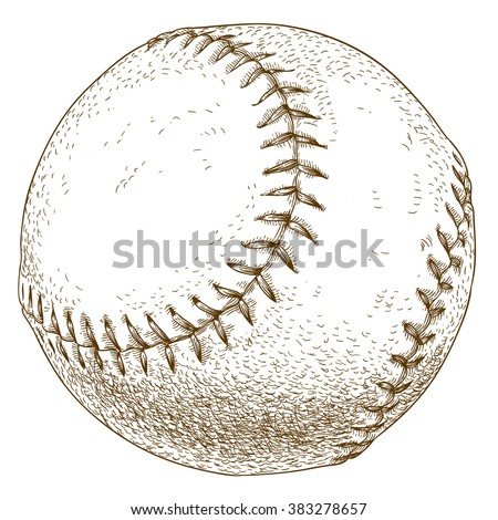 Vector antique engraving illustration of baseball ball isolated on white background - stock vector