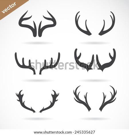 Vector antler icon set on white background - stock vector