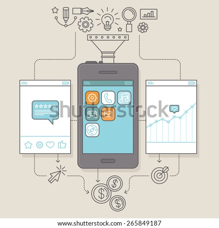 Vector app promotion and marketing concept in flat linear style - illustration for service to get reviews for mobile apps and monetization infographics design elements - stock vector