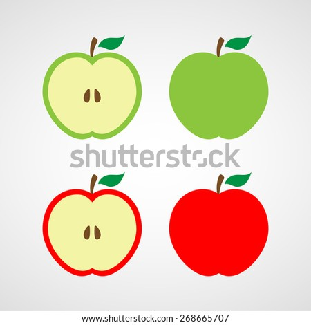 Vector apple icon. Vector illustration - stock vector