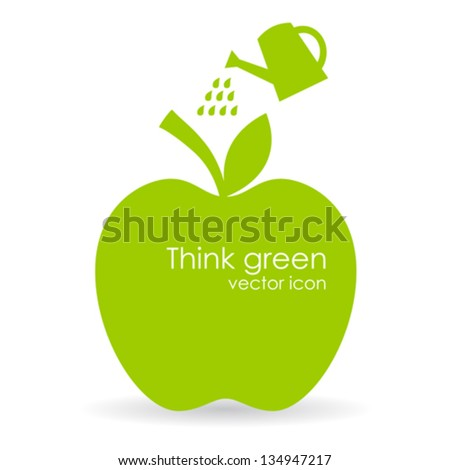 Vector apple illustration, growth symbol - stock vector