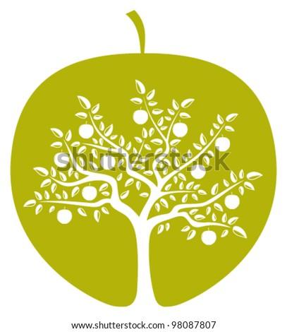 vector apple tree in apple on white background - stock vector