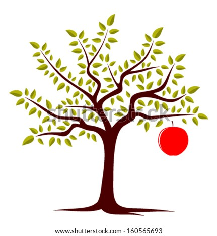vector apple tree with one big apple isolated on white background - stock vector