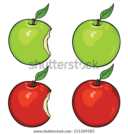 vector apples set: green and red, whole and bitten - stock vector