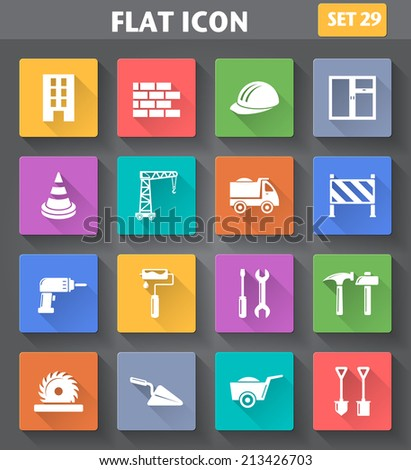Vector application Building, Construction and Tools Icons set in flat style with long shadows. - stock vector